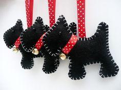 x3 Scottie Dog Felt Hanging Decorations £12.50 by Devonly Crafts