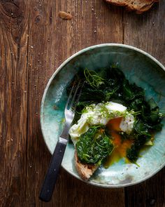 poached egg with garlic mustard / hungry ghost food + travel