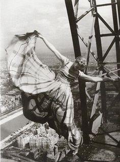 kvetchlandia:    Erwin Blumenfeld  Lisa Fonssagrives on the Eiffel Tower, for Vogue   1939