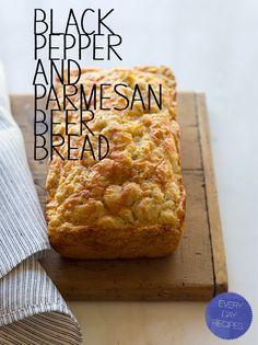 black-pepper-parmesan-beer-bread- spoon fork bacon
