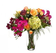 Colorful Silk Orchid Arrangment with Protea, Roses ARWF1243