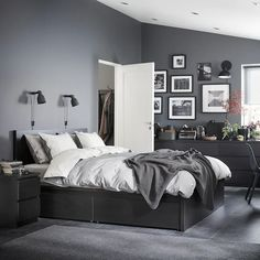 MALM Bed frame, high, w 2 storage boxes - black-brown, Leirsund - IKEA High Bed Frame, Malm Bed Frame, Black Wood Bed Frame, Black And Grey Bedroom, Grey Bedroom Walls, Black Beds, Dark Grey Walls, Grey Bedroom Colors, Monochrome Bedroom