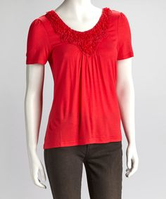 Take a look at this Coral Embroidery Blossom Short-Sleeve Top by Lapis on #zulily today!
