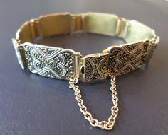 Vintage Gold Tone Damascene Details Link Bracelet. by Bestintreasures on Etsy