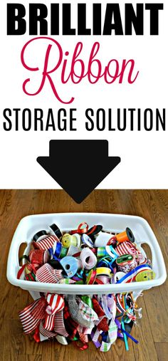 3 Clever Household Storage Clean-up Tips.I've never seen this ribbon storage idea done with a laundry basket! Craft Ribbon Storage, Ribbon Organization, Craft Organization, Organizing Ideas, Upcycled Crafts, Sewing Crafts, Ribbon Holders, Shabby Chic Crafts, Quilting Room