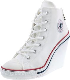 28bdd435673bf Maxstar 777 Back Zipper Canvas Wedge Heels Shoes White 5.5 B(M) US Womens