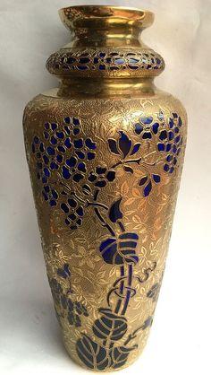 Val Saint Lambert Art Glass Vase Art Deco Signed Belgique Oroplastic Gold
