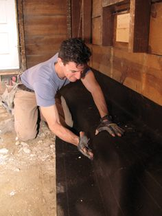 Install Tar Paper, If Applicable Load Bearing Wall, Foundation Repair, Diy Home Improvement, Old Houses, Plates, Wood, Construction, Licence Plates, Building