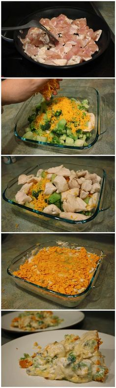 Chicken Broccoli Casserole. Use ritz crackers. One sleeve. Save some for the top. Use full fat everything. It will taste even better! This one is most like my moms.