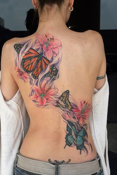 _ hibiscus & butterflies tattoo _