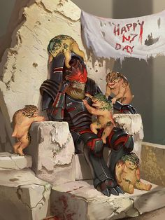 Wrex celebrating N7 day with the kids.
