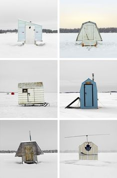 i've never experienced the kind of bitter cold that Canada and other similarly wintery places have to deal with, but something tells me that sitting in an ice fishing hut doesn't appeal to me much. when i saw this series by photographer Richard Johnson however, i started imagining what my own ice hut would look like… i probably wouldn't …