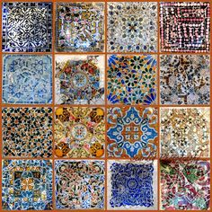 Gaudi Mosaic Tiles Collage on Canvas. Photos of Parc от seardig