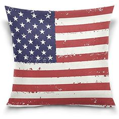 """Donnapink Throw Pillow Case American Flag US Flag Square Zippered Cushion Cover 16""""X16"""" Decorative Cotton Pillowcase For Home Sofa Livingroom(Two Sides)"""