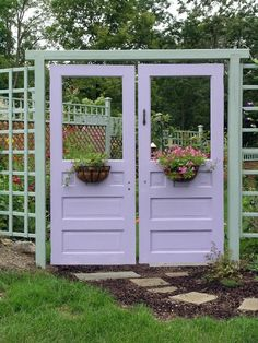 Love this idea..to use old doors as Garden Doors in an arbor