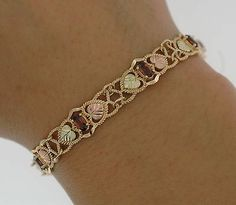 Beautiful Solid 10kt Black Hills Gold Tri Color Genuine Garnets Bracelet 7 Ebay