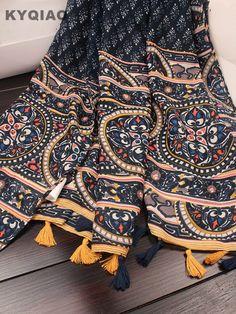 Pas cher KYQIAO Vintage 70 s ethnique longue imprimé géométrique écharpe  pour femmes automne hiver Mexique style boho imprimé echarpes muffler cape,  ... 8ba55ba6d31