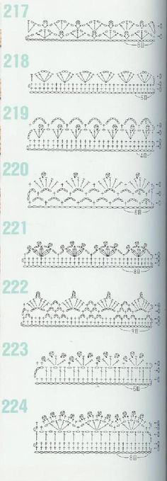 from 262 Patrones de crochet by faye Crochet Boarders, Crochet Edging Patterns, Crochet Lace Edging, Crochet Motifs, Crochet Diagram, Crochet Chart, Crochet Trim, Crochet Designs, Crochet Doilies