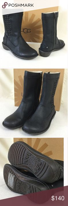 """UGG BRAND NEW leather mid boot UGG BRAND NEW matte black leather mid boot. Beautiful braided detail and zipper side for easy on/off   Shearling lined interior walls for that added warmth and softness. Durable rugged rubber soles to help get through the rough elements. Excellent condition never worn. Measures 9.5"""" tall and 9"""" long insoles circumference is 13.5"""" around the top. As always authentic and sorry no trades or box  816-700 UGG Shoes Winter & Rain Boots"""