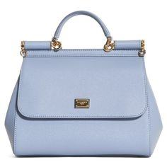 Women's Dolce&gabbana 'small Miss Sicily' Leather Satchel ($1,695) ❤ liked on Polyvore featuring bags, handbags, fiordaliso, retro purses, dolce gabbana handbags, metallic handbags, blue leather handbags and genuine leather handbags