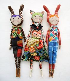 Wow - how bold color combinations! Super! Rag dolls modflowers: new vintage Liberty fabric dolls