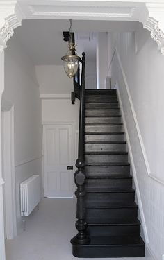 Explore The Best 24 Painted Stairs Ideas for Your New Home : 27 Painted Staircase Ideas Which Make Your Stairs Look New Tags: painted staircase, painted plywood stairs, painted stairs black, painted stairs ideas pictures Black Stairs, Hallway Decorating, Painted Staircases, House, Home, Staircase Design, New Homes, House Interior, Painted Stairs