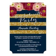 Navy & Gold Glitter Stripes Bachelorette Party Card