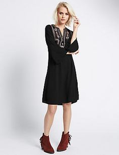 Buy the Embroidered Sleeve Tunic Dress from Marks and Spencer's range. New Fashion, Womens Fashion, Maxi Styles, Tunic Dresses, Embroidered Tunic, Shirt Style, Indigo, Latest Trends, High Neck Dress
