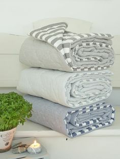 #blankets with #stripes, #grey, hand stitched