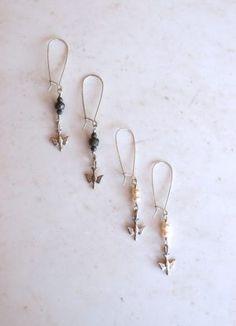 Sweet Sterling Silver Drop Earrings. Pyrite or Pearl.|ExVoto Vintage