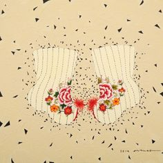 embroidered socks / Mixed media, 2014 / 50 x 50 cm (19.7 x 19.7 inch)