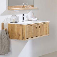 plan vasque suspendu et mobilier à poser en bois pour salle de ... - Meuble Salle De Bain Teck Suspendu