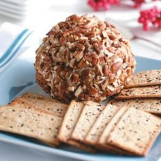 Gorgonzola & Cranberry Cheese Ball Recipe Appetizers with cream cheese, soften, crumbled gorgonzola, dried cranberries, finely chopped onion, hot pepper sauce, chopped pecans, crackers