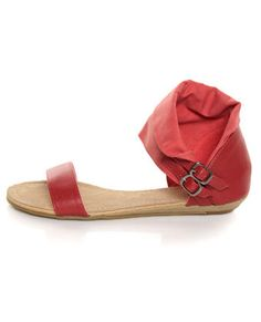 coral and red ankle cuff sandals
