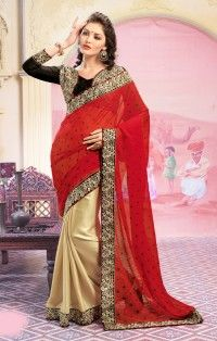 Amezing Red Black Beige Georgette Block Print