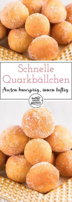 Easy Cake : Nice crunchy and airy inside - these quark balls are just delicious . Baking Recipes, Cookie Recipes, Dessert Recipes, Law Carb, Baking Power, Dessert Simple, Food Cakes, Churros, No Bake Cake