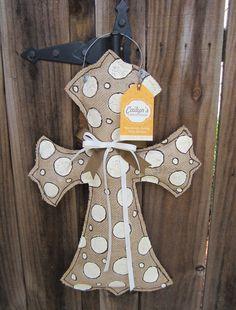 Khaki+Polka+Dot+Cross+Burlap+Door+Hanger+by+CailynsCreations,+$40.00