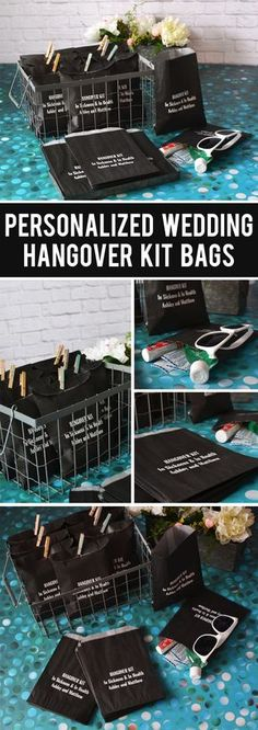 A fun DIY wedding favor idea for alcohol wedding receptions and bachelorette party favors, create your own hangover survival kits packaged in custom printed bags for guests to pick up at the bar before they leave. Add sunglasses, band aids, mouth wash, Tylenol or aspirin, and energy bars to help guests recover the morning after. These personalized bags can be ordered at http://myweddingreceptionideas.com/wedding-hangover-survival-kit-favor-bags.asp