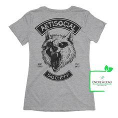 Creation T Shirt, Anti Social, Shirts With Sayings, Black Print, Funny Tshirts, Mens Tops, Canada Post, Quebec City, Quality Printing