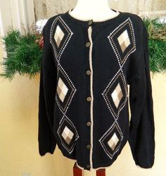 Christopher Banks Argyle Cardigan Sweater L Black Classic Fun Comfy Cute Jeans #ChristopherBanks #Cardigan