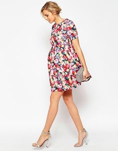 ASOS Maternity | ASOS Maternity Exclusive Scuba Skater Dress in Bright Floral Print at ASOS