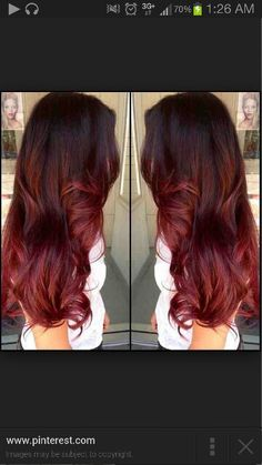 Dark Brown Into Red Ombre Hair