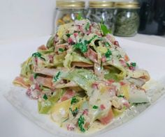 #Bunte #Tagliatelle alla #carbonara #prosciutto2pastalicious Potato Salad, Heaven, Potatoes, Pasta, Ethnic Recipes, Food, Sky, Meal, Potato