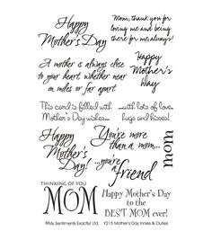 """My Sentiments Exactly Clear Stamps 4""""X6"""" Sheet-Mother's Day"""