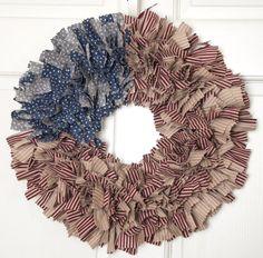 "American Flag Wreath - Rag Wreath - Stars & Stripes ""Old Glory""- Vintage Americana Wreath.  Go team USA!"
