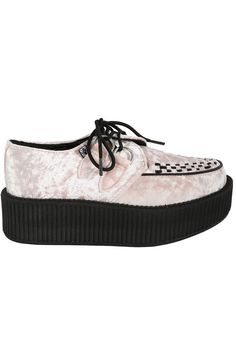 Pink Crushed Velvet Mondo Creeper Shoe by T.U.K.