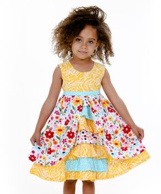 This Yellow & Rainbow Spring Bling Hannah Dress - Toddler & Girls is perfect! #zulilyfinds
