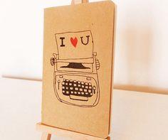I Love You Typewriter Gocco Print Moleskine Notebook/Sketchbook by Rose Hudson