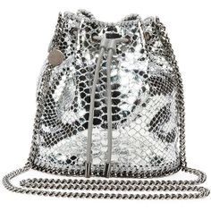 Stella Mccartney Falabella Snake-Print Bucket Bag ($900) ❤ liked on Polyvore featuring bags, handbags, shoulder bags, borse, handbags bucket bags, silver, chain strap purse, chain shoulder bag, shoulder handbags and python handbags