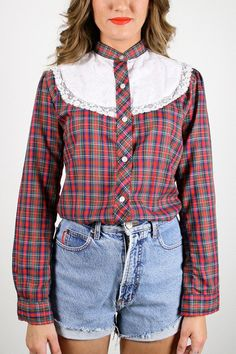 Vintage Western Shirt Red Plaid Shirt White Eyelet Lace Bib Rockabilly Shirt Cowboy Shirt Cowgirl Shirt Long Sleeve Prairie Blouse S Small #vintage #etsy #70s #1970s #plaid #shirt #western #rockabilly #cowboy #cowgirl